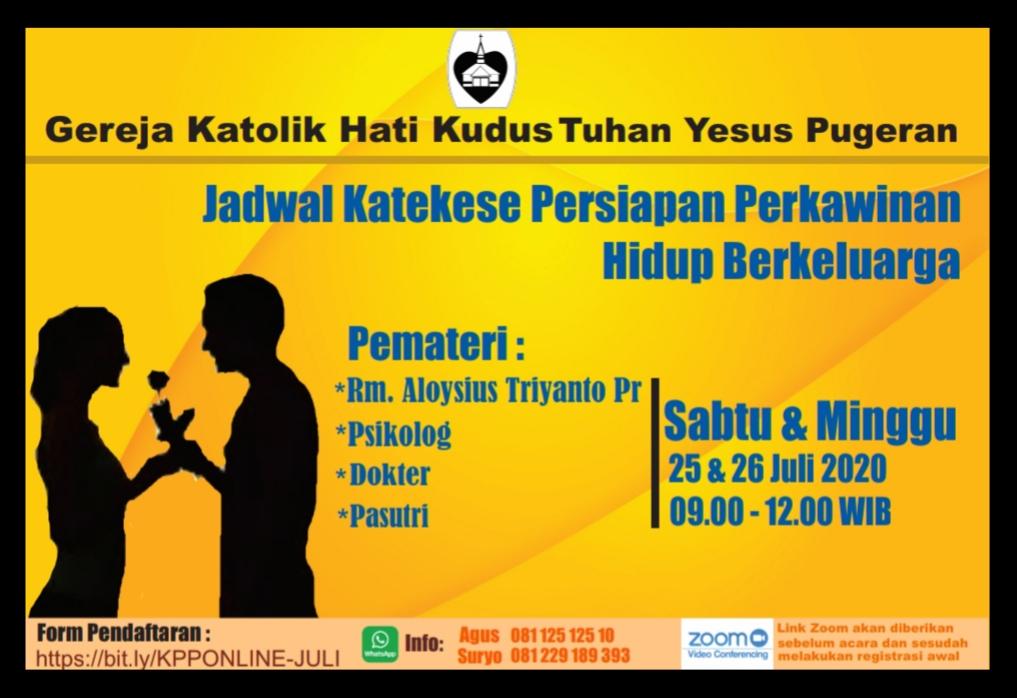Read more about the article Katekese Persiapan Perkawinan Hidup Berkeluarga Bulan Juli 2020