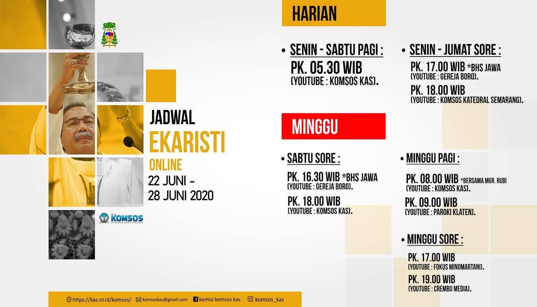 """Read more about the article Informasi Jadwal """"Live Streaming"""" dan """"Relay"""" Radio Misa Harian dan Mingguan periode 22 – 28 Juni 2020"""