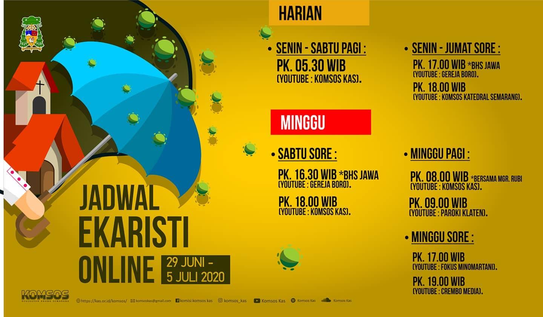 """Read more about the article Informasi Jadwal """"Live Streaming"""" dan """"Relay"""" Radio Misa Harian dan Mingguan periode 29 Juni – 5 Juli 2020"""